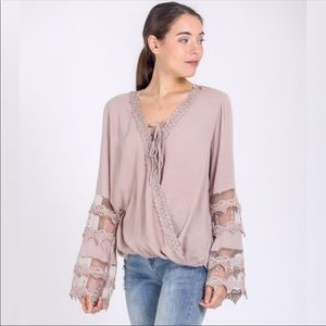 Tops - ❤️ NEW ARRIVAL! HP Taupe Lace Detail Surplice Top